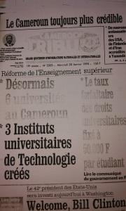 """La """"Une"""" du journal """"Cameroon Tribune"""" du 20 Janvier 1993. Phot: tic4science"""